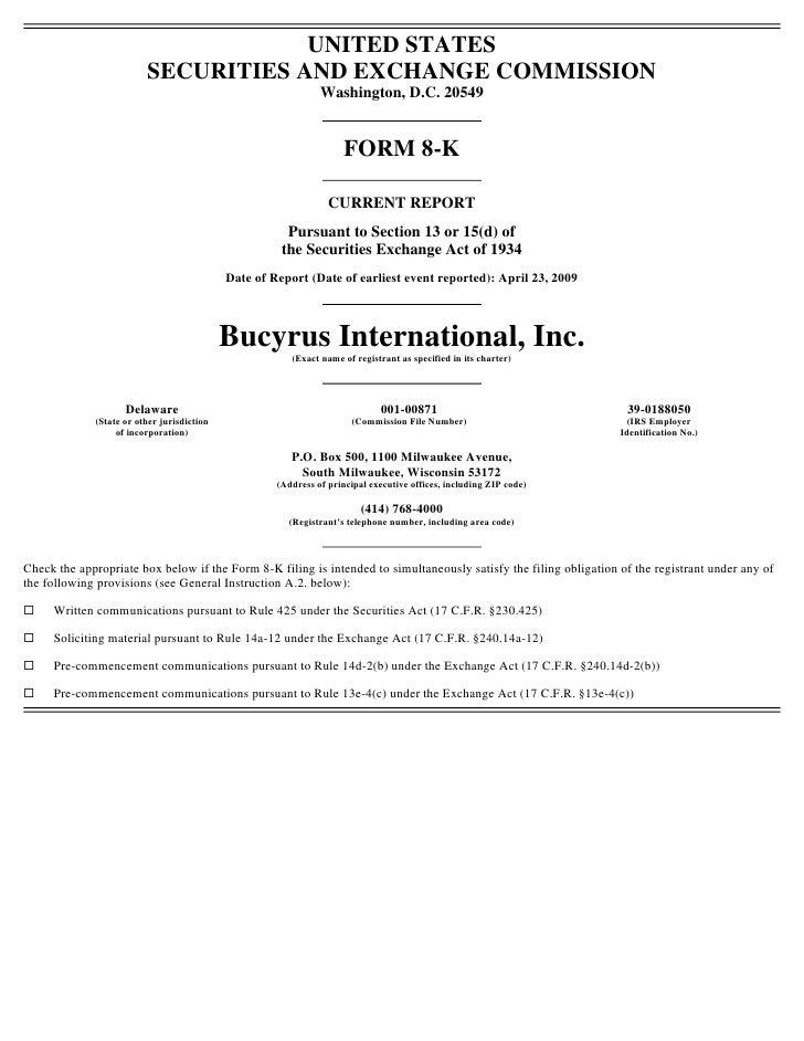 Q1 2009 Earning Report Of Bucyrus International Inc