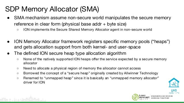 ENGINEERS AND DEVICES WORKING TOGETHER SDP Memory Allocator (SMA) ● SMA mechanism assume non-secure world manipulates the ...