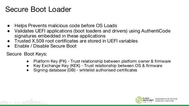 ENGINEERS AND DEVICES WORKING TOGETHER Secure Boot Loader ● Helps Prevents malicious code before OS Loads ● Validates UEFI...