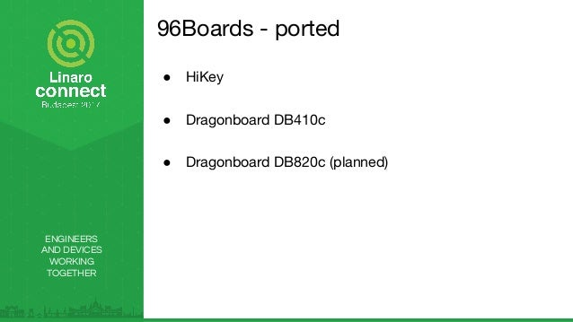 ENGINEERS AND DEVICES WORKING TOGETHER 96Boards - ported ● HiKey ● Dragonboard DB410c ● Dragonboard DB820c (planned)