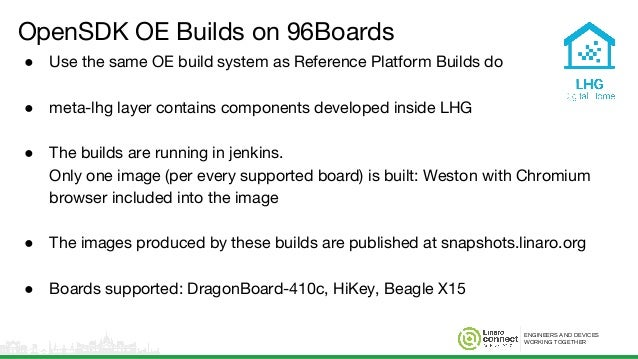 ENGINEERS AND DEVICES WORKING TOGETHER OpenSDK OE Builds on 96Boards ● Use the same OE build system as Reference Platform ...