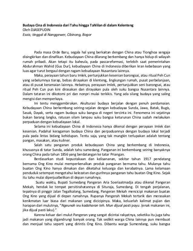 Budaya Cina di Indonesia dari Tahu hingga Tahlilan di dalam Kelenteng Oleh DJASEPUDIN Esais; tinggal di Nanggewer, Cibinon...