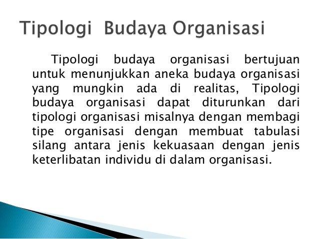 Tipologi budaya organisasi bertujuan untuk menunjukkan aneka budaya organisasi yang mungkin ada di realitas, Tipologi buda...