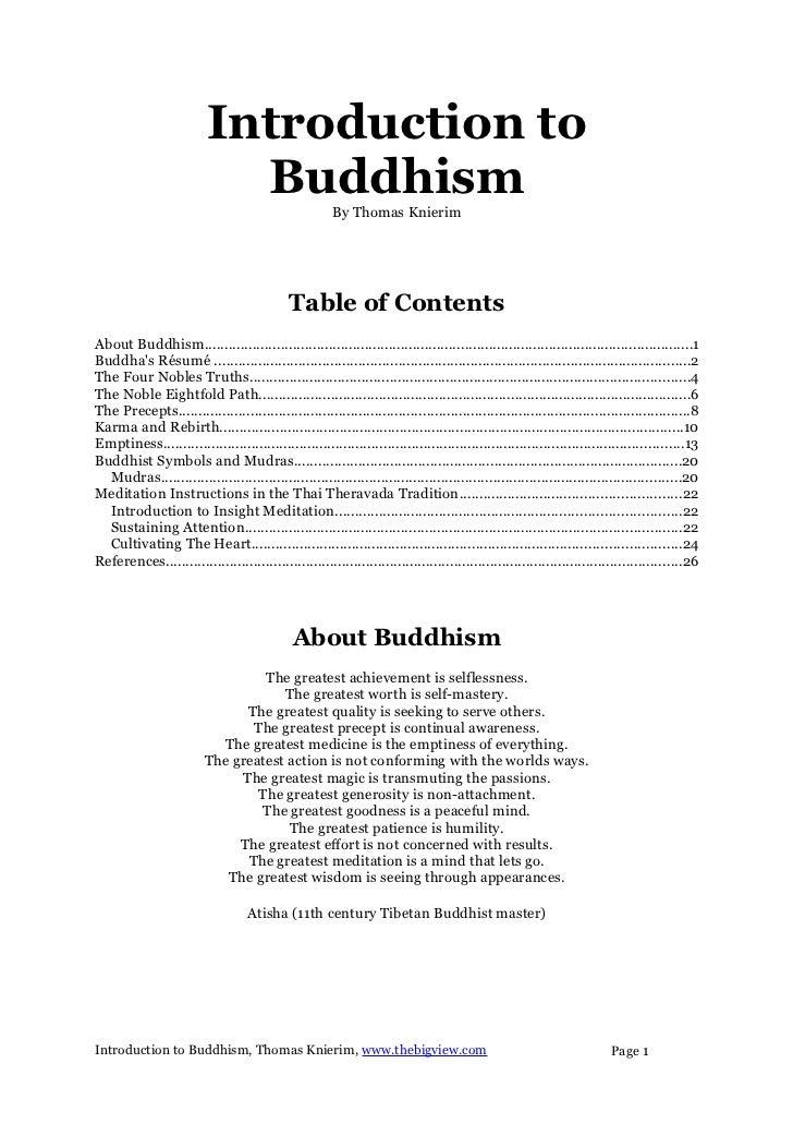 Introduction to                            Buddhism                   By Thomas Knierim                                   ...