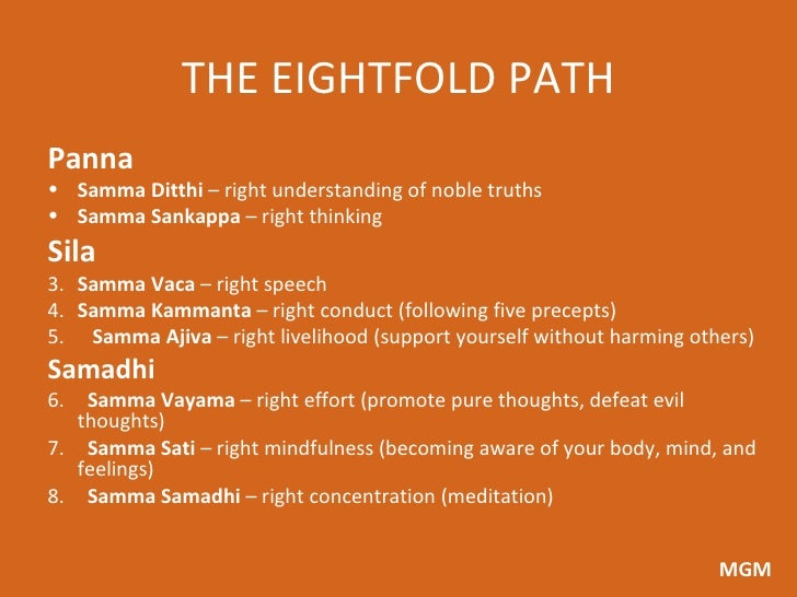the eightfold path in achieving nirvana These good actions are set out in the eightfold path, which includes right speech, right livelihood, and right concentration unless they achieve nirvana.