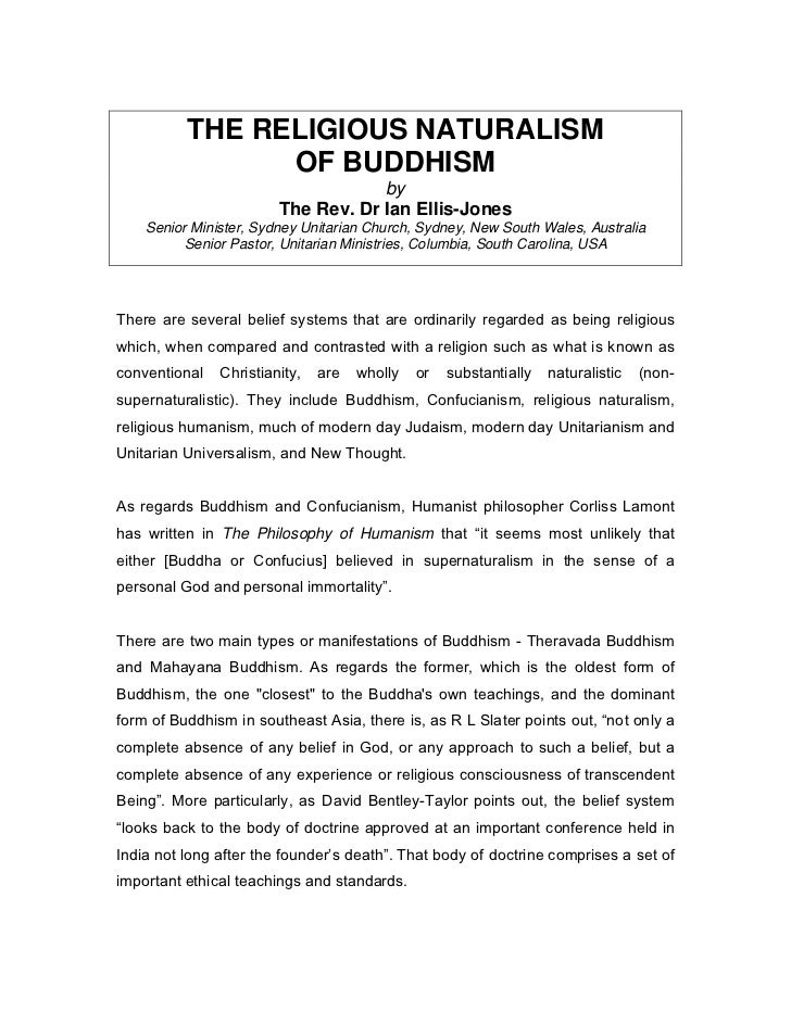 THE RELIGIOUS NATURALISM                OF BUDDHISM                                    by                        The Rev. ...
