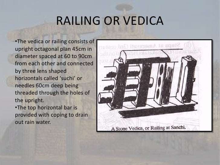 RAILING OR VEDICA•The vedica or railing consists ofupright octagonal plan 45cm indiameter spaced at 60 to 90cmfrom each ot...