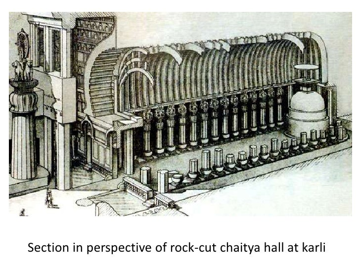 Section in perspective of rock-cut chaitya hall at karli