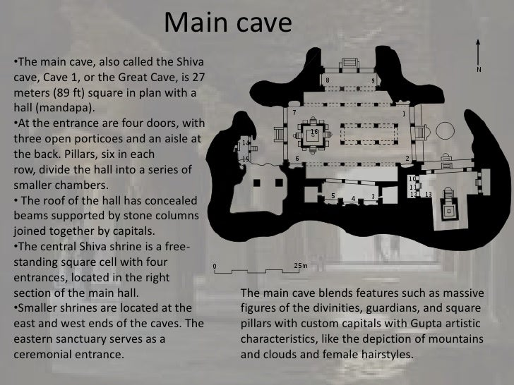 Main cave•The main cave, also called the Shivacave, Cave 1, or the Great Cave, is 27meters (89 ft) square in plan with aha...
