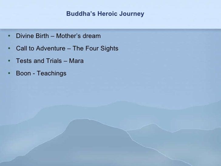 Buddha's Heroic Journey <ul><li>Divine Birth – Mother's dream </li></ul><ul><li>Call to Adventure – The Four Sights </li><...
