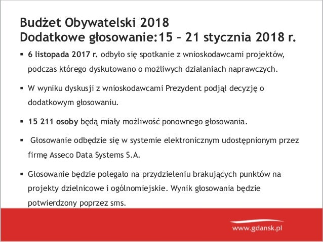 Budżet Obywatelski w Gdańsku - dogłosowanie Slide 2