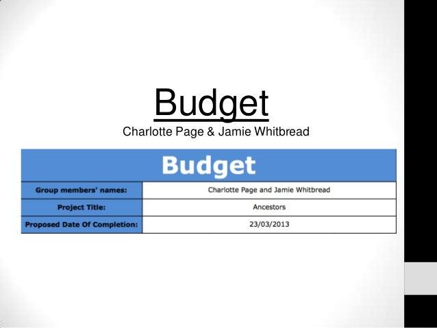 BudgetCharlotte Page & Jamie Whitbread
