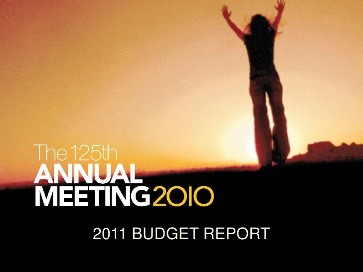 2011 BUDGET REPORT<br />