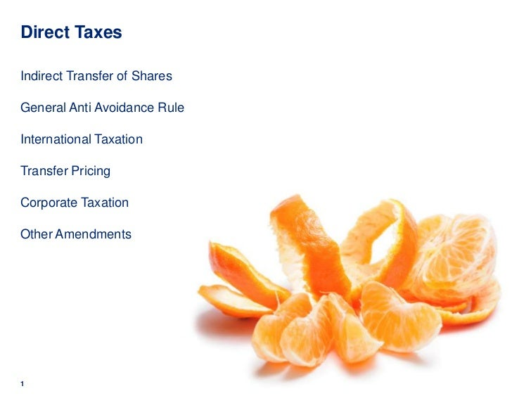Direct TaxesIndirect Transfer of SharesGeneral Anti Avoidance RuleInternational TaxationTransfer PricingCorporate Taxation...