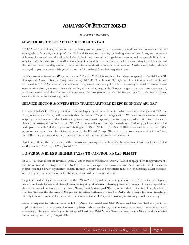 P r a b h u T S r i n i v a s a n @ g m a i l . c o m Page 1 ANALYSIS OF BUDGET 2012-13 (By Prabhu T Srinivasan) SIGNS OF ...