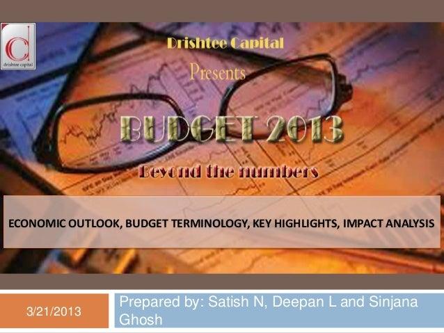ECONOMIC OUTLOOK, BUDGET TERMINOLOGY, KEY HIGHLIGHTS, IMPACT ANALYSIS                 Prepared by: Satish N, Deepan L and ...