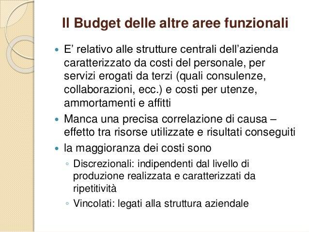 Il Budget delle altre aree funzionali  E' relativo alle strutture centrali dell'azienda caratterizzato da costi del perso...
