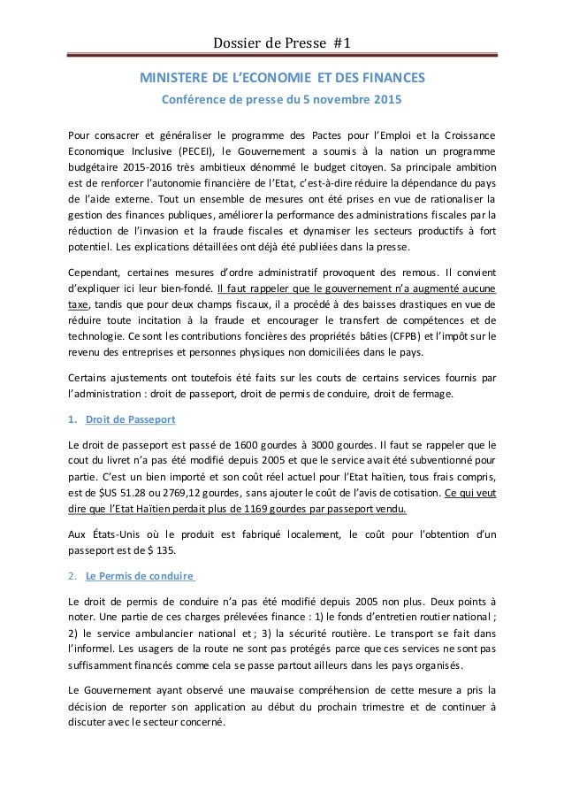 Dossier de Presse #1 MINISTERE DE L'ECONOMIE ET DES FINANCES Conférence de presse du 5 novembre 2015 Pour consacrer et gén...