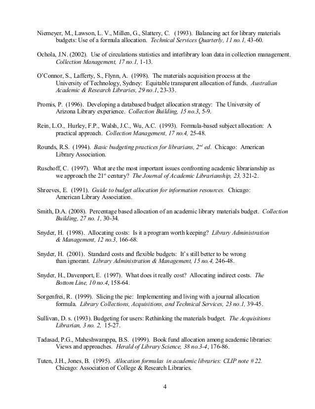 academic library budgets bibliography