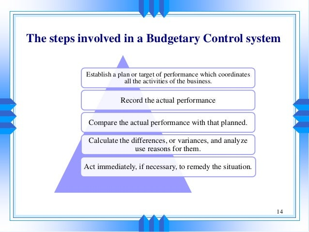 budgets and budgetory control Abstract: the objective of the study is to establish effect of budgetary control  on financial performance of public institutions of higher learning this study was.