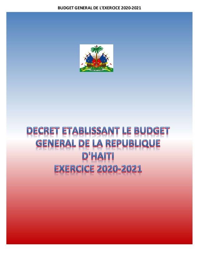 BUDGET GENERAL DE L'EXERCICE 2020-2021