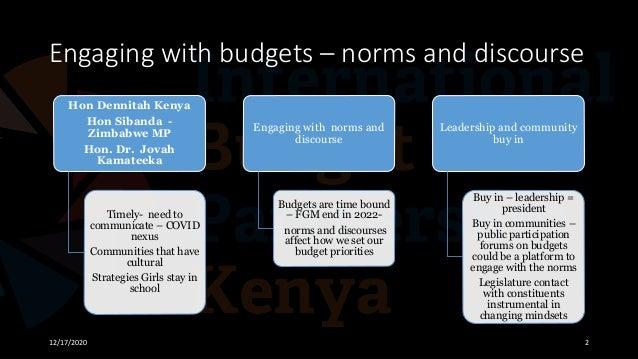 Engaging with budgets – norms and discourse 12/17/2020 2 Hon Dennitah Kenya Hon Sibanda - Zimbabwe MP Hon. Dr. Jovah Kamat...