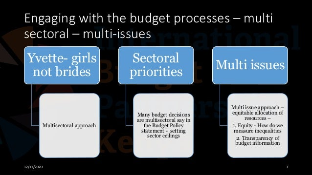Engaging with the budget processes – multi sectoral – multi-issues 12/17/2020 3 Yvette- girls not brides Multisectoral app...