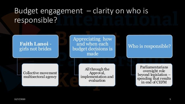 Budget engagement – clarity on who is responsible? 12/17/2020 5 Faith Lanoi - girls not brides Collective movement multise...