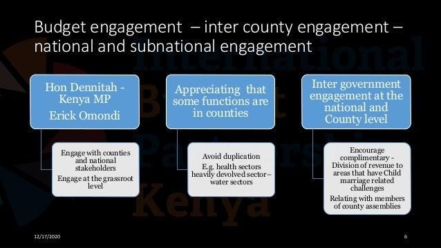 Budget engagement – inter county engagement – national and subnational engagement 12/17/2020 6 Hon Dennitah - Kenya MP Eri...