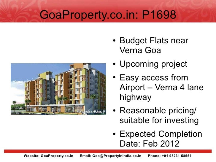 GoaProperty.co.in: P1698                                               ●   Budget Flats near                              ...