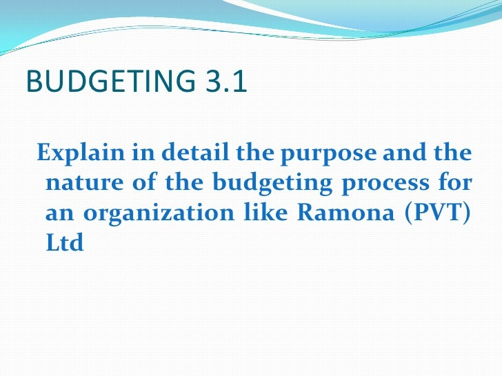 BUDGETING 3.1<br />Explain in detail the purpose and the nature of the budgeting process for an organization like Ramona (...