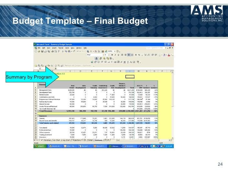 non profit program budget template