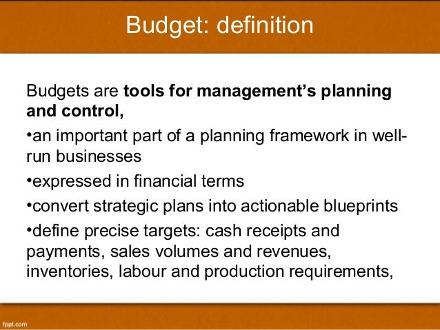 budgeting for planning and controlling Module 1: strategy & budgeting - planning & controlling as the budgeting process needs strategic guidelines, and these guidelines drive the planning process, corporate managers develop the budget plan accordingly to the strategic guidelinesthe budget contributes to the roll-out of programs, projects, and actions to implement in the organization.