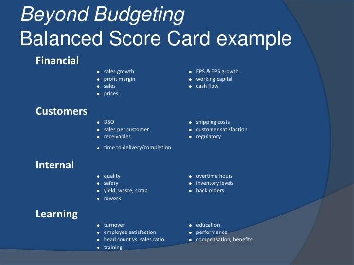 Beyond BudgetingBalanced Score Card example<br />