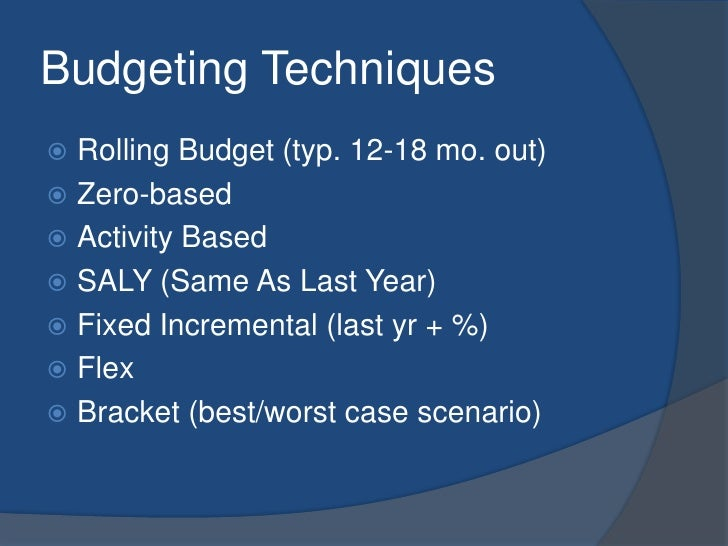 Budgeting Techniques<br />Rolling Budget (typ. 12-18 mo. out)<br />Zero-based<br />Activity Based<br />SALY (Same As Last ...