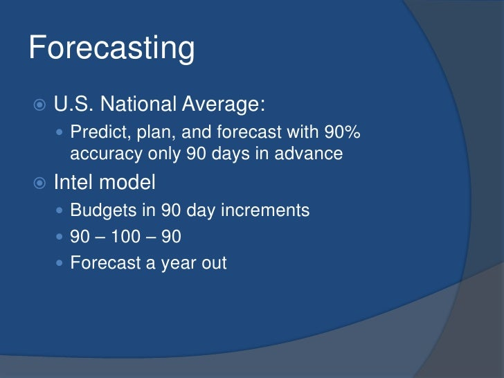 Forecasting<br />U.S. National Average:<br />Predict, plan, and forecast with 90% accuracy only 90 days in advance<br />In...