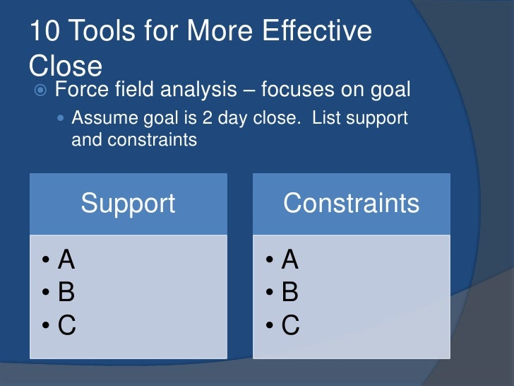 10 Tools for More Effective Close<br />Force field analysis – focuses on goal<br />Assume goal is 2 day close.  List suppo...