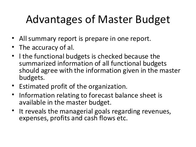 advantages of master budget