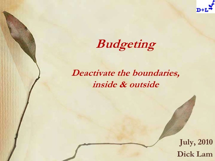 BudgetingDeactivate the boundaries,inside & outside<br />July, 2010<br />Dick Lam<br />