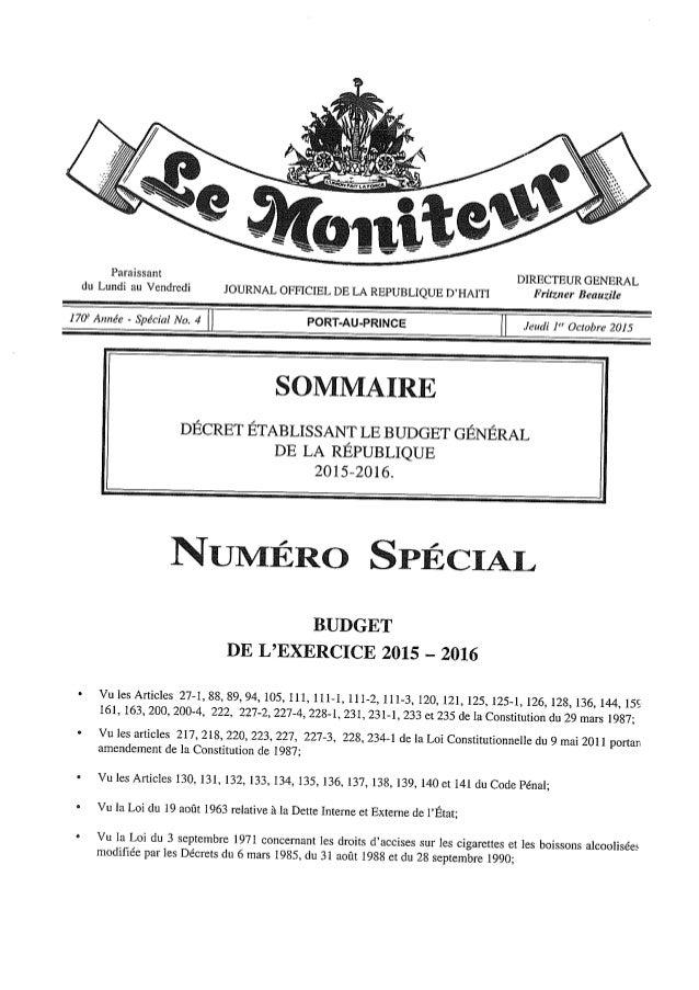 Budget de l'exercice 2015-2016 (HAITI)