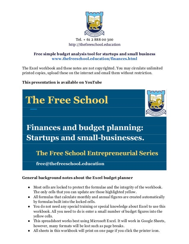 startups and small businesses free budget tool
