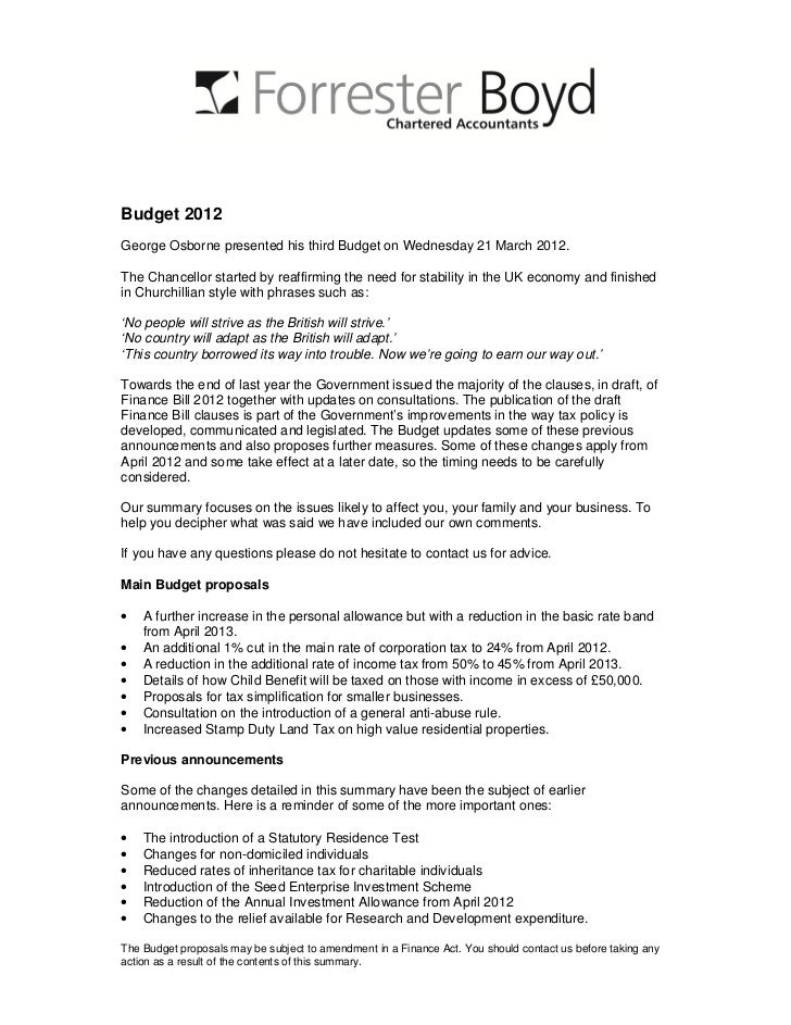 Budget 2012George Osborne presented his third Budget on Wednesday 21 March 2012.The Chancellor started by reaffirming the ...