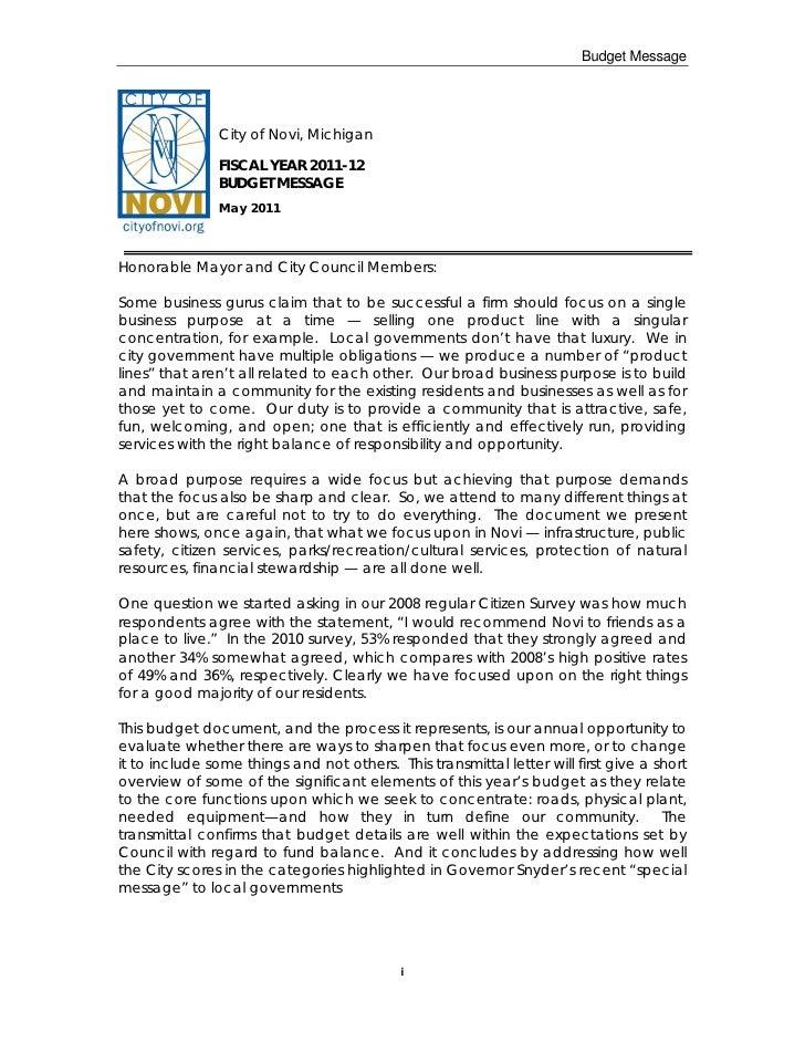Budget Message               City of Novi, Michigan               FISCAL YEAR 2011-12               BUDGET MESSAGE        ...