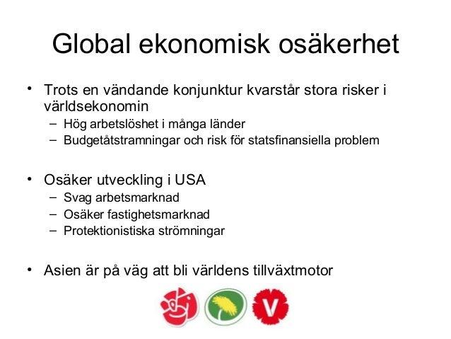 Global ekonomisk osäkerhet • Trots en vändande konjunktur kvarstår stora risker i världsekonomin – Hög arbetslöshet i mång...