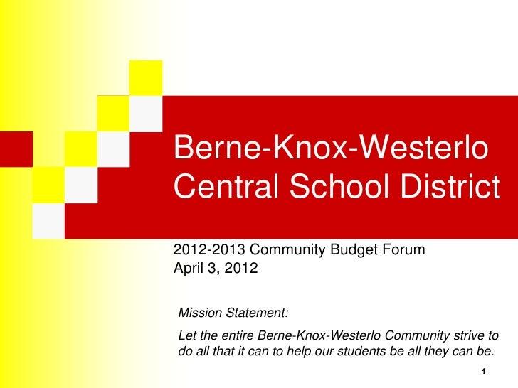 Berne-Knox-WesterloCentral School District2012-2013 Community Budget ForumApril 3, 2012Mission Statement:Let the entire Be...