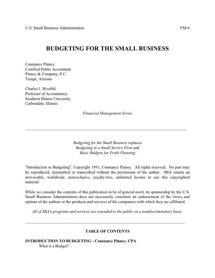 U.S. Small Business Administration                                                              FM-8                 BUDGE...