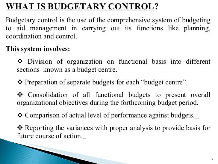 budget and budgetary control practices in