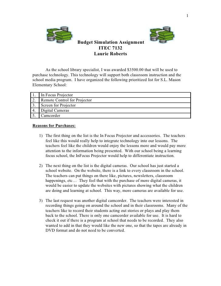 1                                Budget Simulation Assignment                                     ITEC 7132               ...