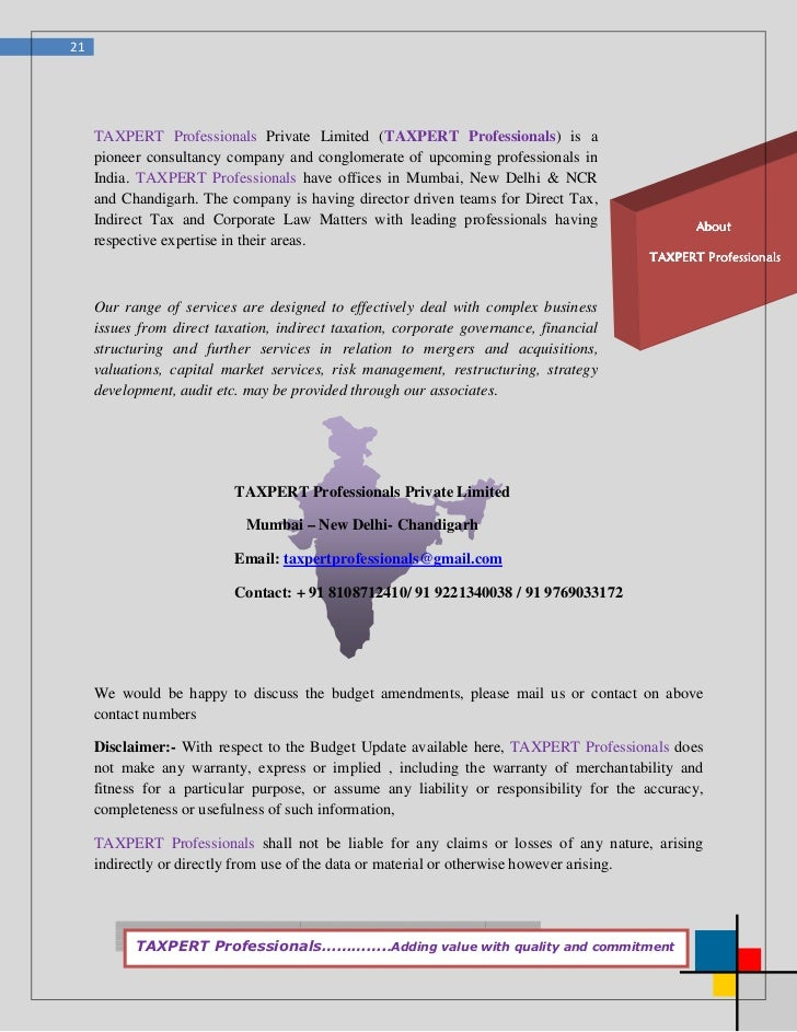 21     TAXPERT Professionals Private Limited (TAXPERT Professionals) is a     pioneer consultancy company and conglomerate...