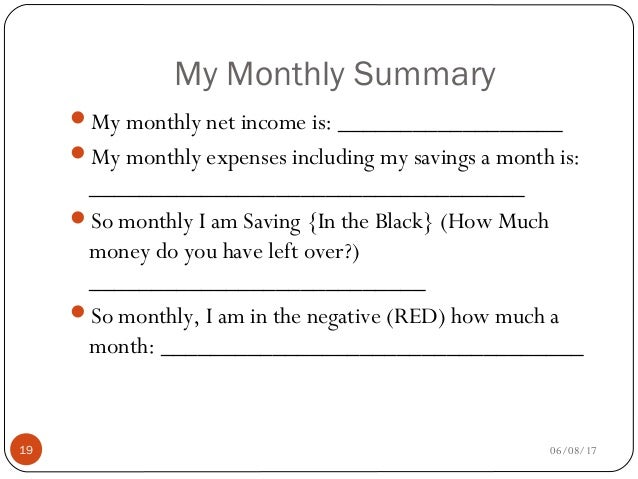 my monthly budget